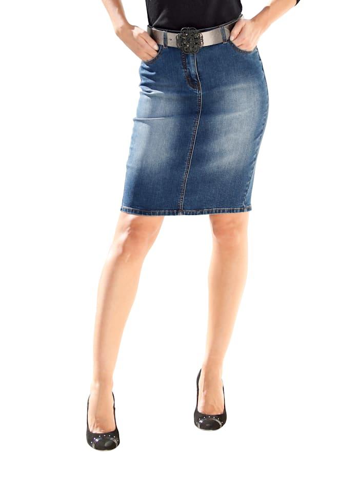 AMY VERMONT Jupe en jean de coupe 5 poches, Medium blue
