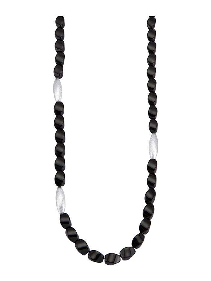 Amara Pierres colorées Collier en argent 925, Noir
