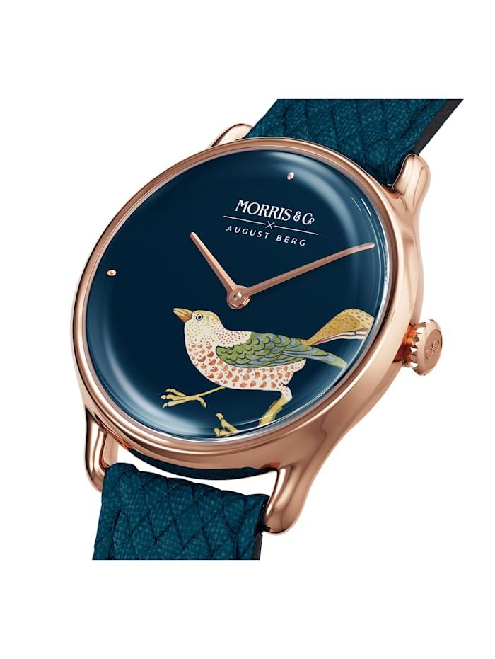 Uhr MORRIS & CO Rose Gold Bird Indigo Perlon 30mm