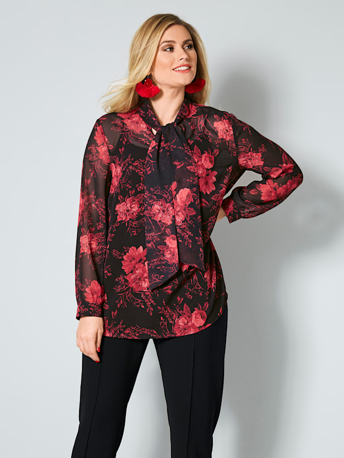 Sara Lindholm Knytblus med blommigt mönster, Röd/Svart