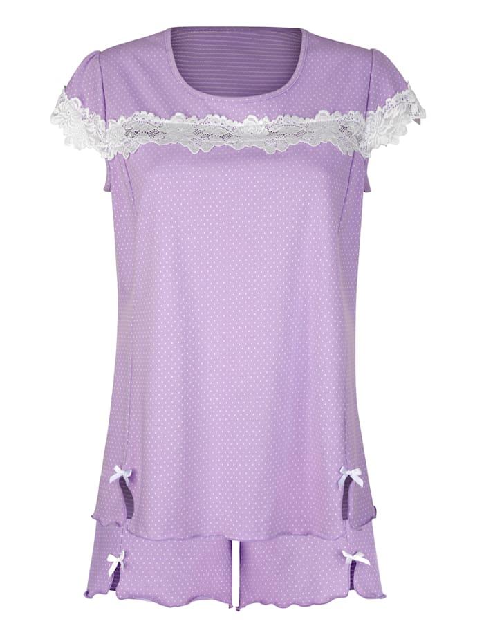 Simone Pyjamas med korta ärmar och korta ben, Syren/Benvit