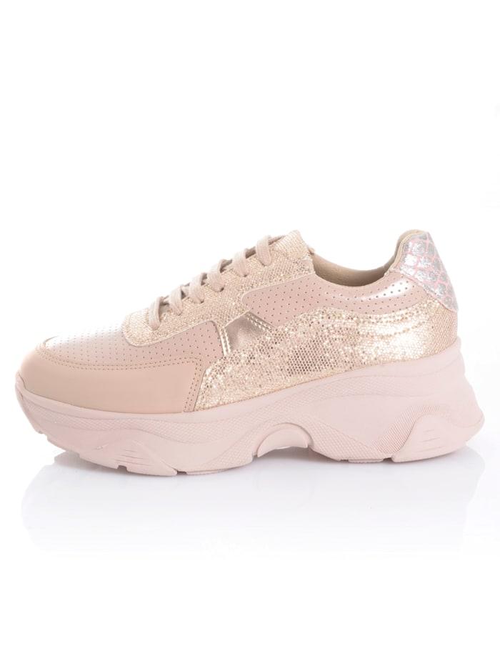 Sneaker met glitterinzetten