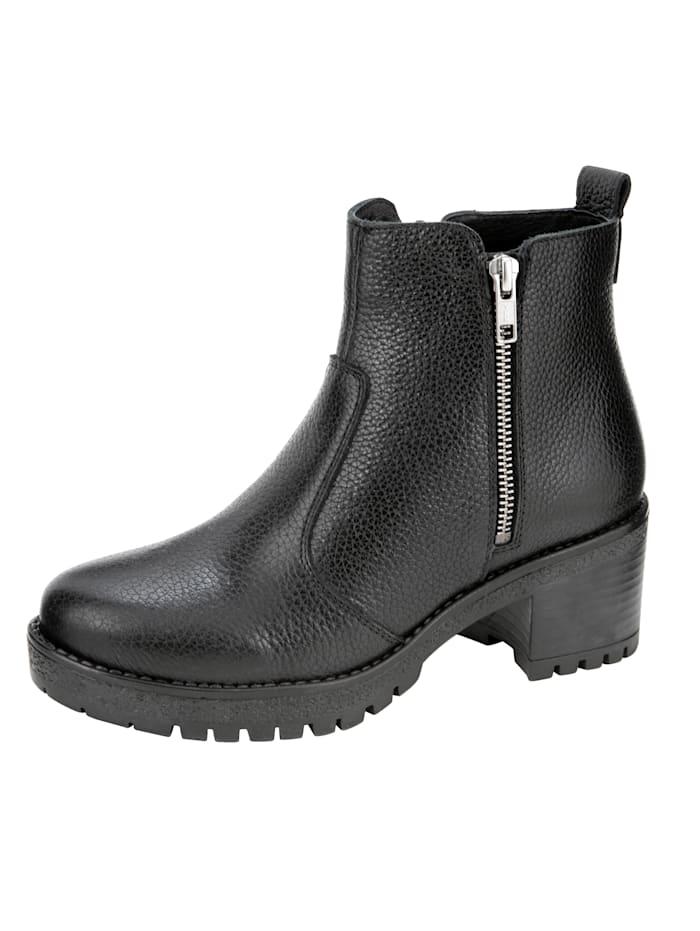 Filipe Shoes Stiefelette mit dekorativem Außenreißverschluss, Schwarz