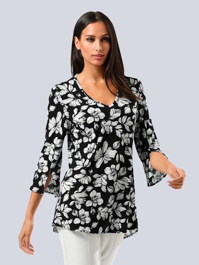 Alba Moda Shirt im Alba Moda exklusivem Dessin, Schwarz/Weiß