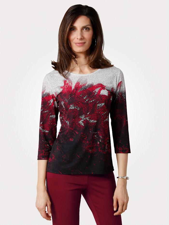 MONA Shirt mit farbbrilliantem Druck, Weiß/Bordeaux