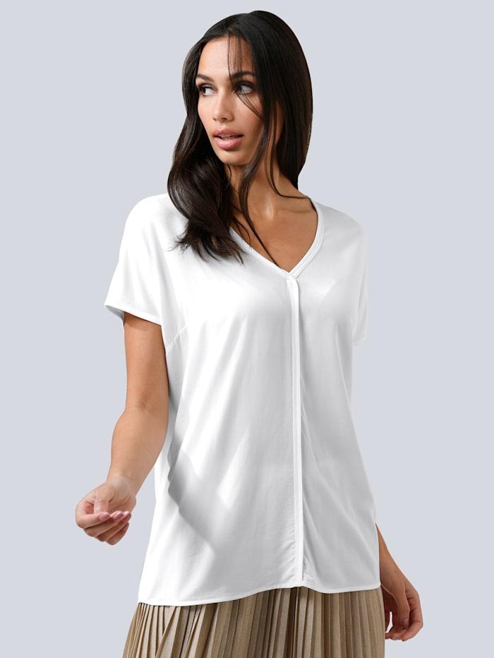Alba Moda Bluse mit modischer Naht im Vorderteil, Off-white