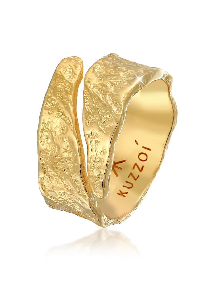 Kuzzoi Ring Bandring Struktur Used Look 925 Silber, Gold