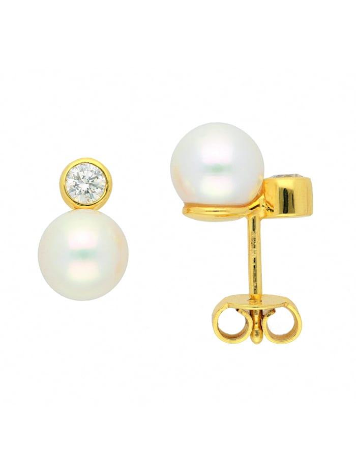 1001 Diamonds Damen Goldschmuck 585 Gold Ohrringe / Ohrstecker mit Süßwasser Zuchtperle, gold