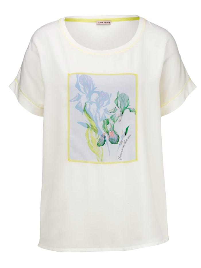 Shirt mit aufgenähtem Blütenmotiv im Vorderteil
