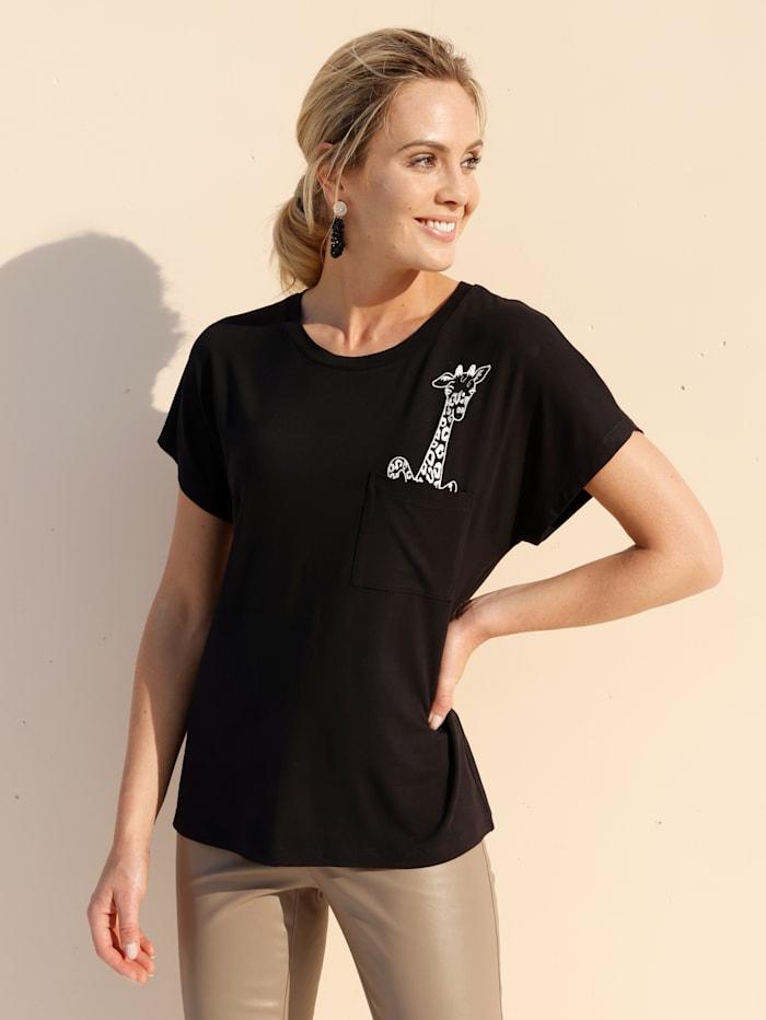 AMY VERMONT Shirt mit Stickerei, Schwarz