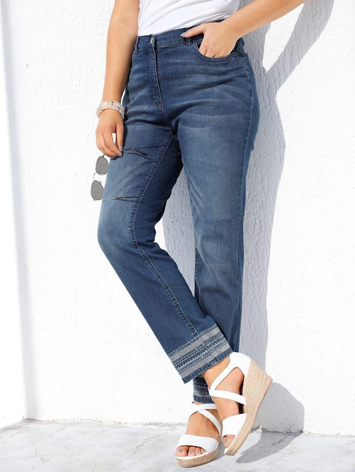 MIAMODA Jeans met modieus borduursel, Blue stone