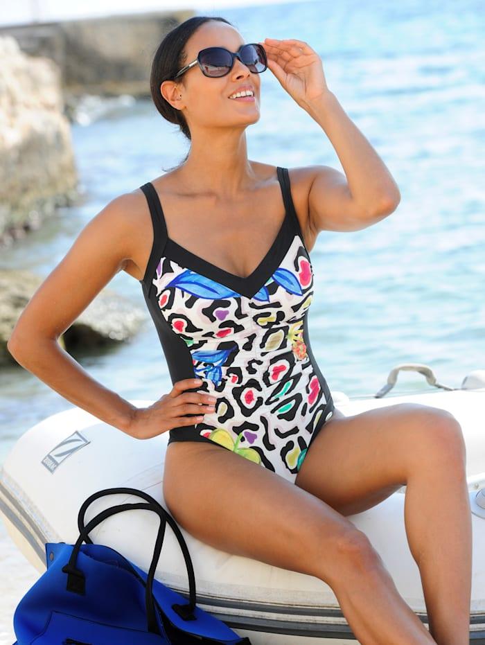 Sunflair Badeanzug mit schwarzen Blenden, Schwarz