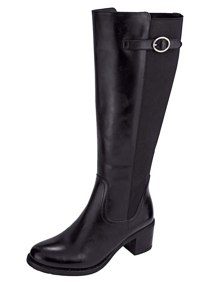 Liva Loop Boots with elasticated panel, Black