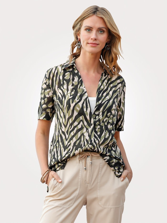 MONA Blouse in an animal print, Olive/Sand/Black