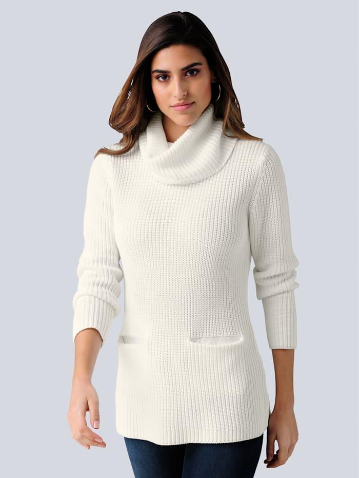Alba Moda Rollkragenpullover mit zwei aufgesetzten Taschen, Off-white