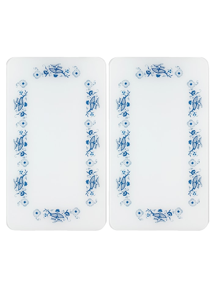 Wenko 2er-Set Herdabdeckplatten Zwiebelmuster, weiß