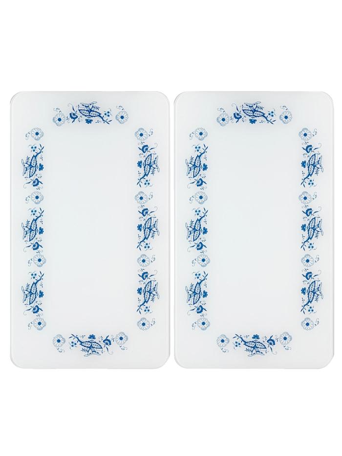 """Wenko Lot de 2 protège-plaques """"Motif traditionnel"""", blanc"""