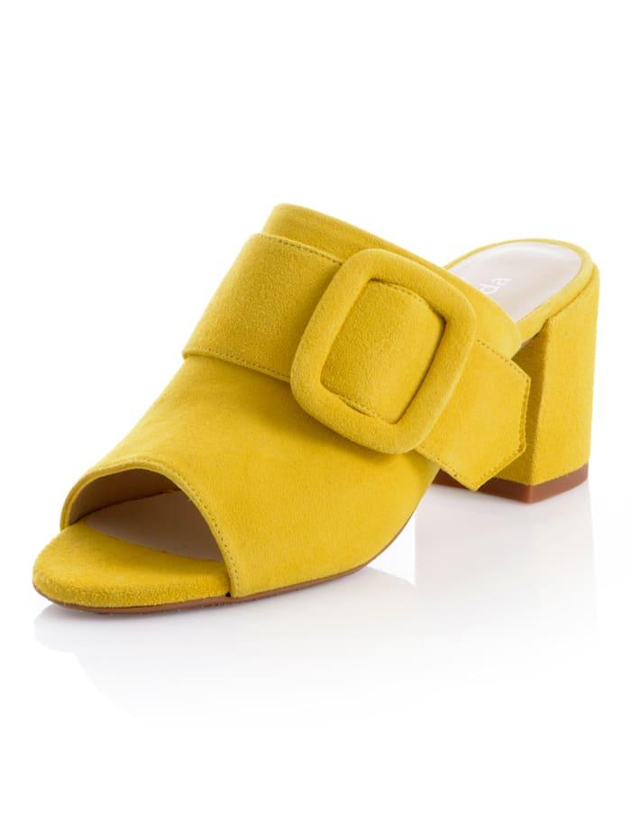 Alba Moda Pantolette mit Zierriemchen, Gelb