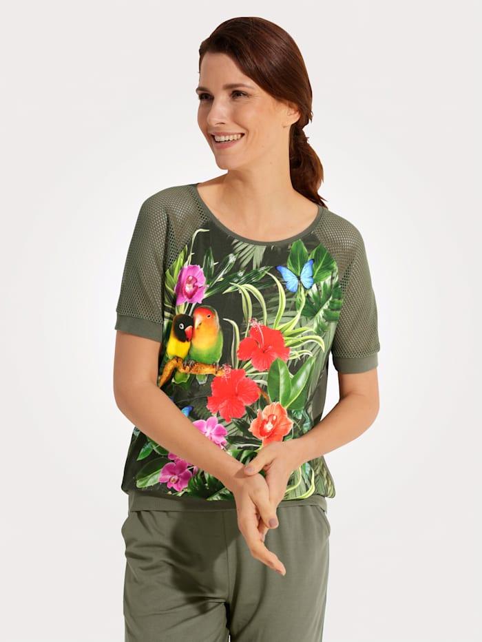 MONA Shirt met kleurrijke print, Olijf/Multicolor