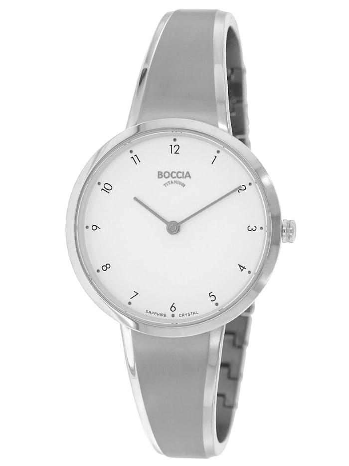 Boccia Damen-Armbanduhr Titan mit Saphirglas, Silberfarben