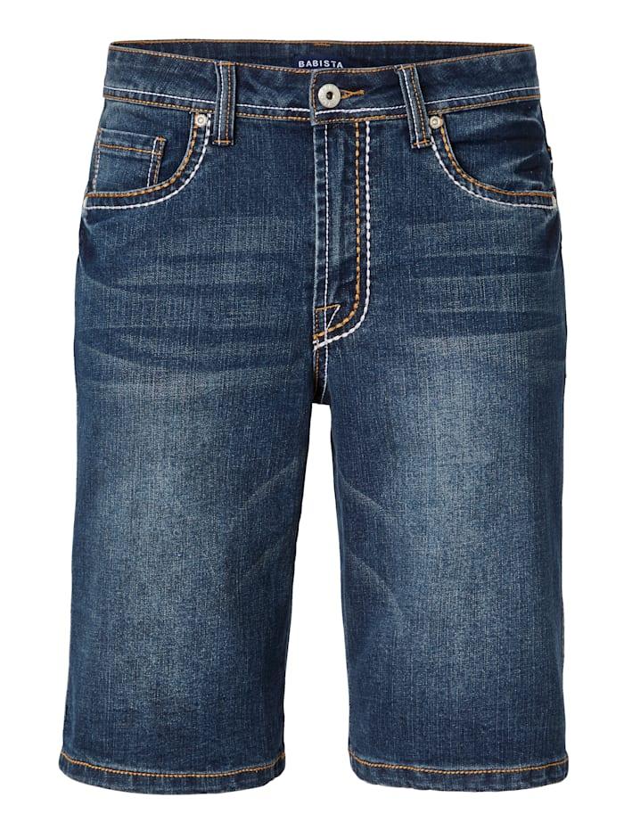 BABISTA Bermuda en jean à surpiqûres mode épaisses, Bleu foncé