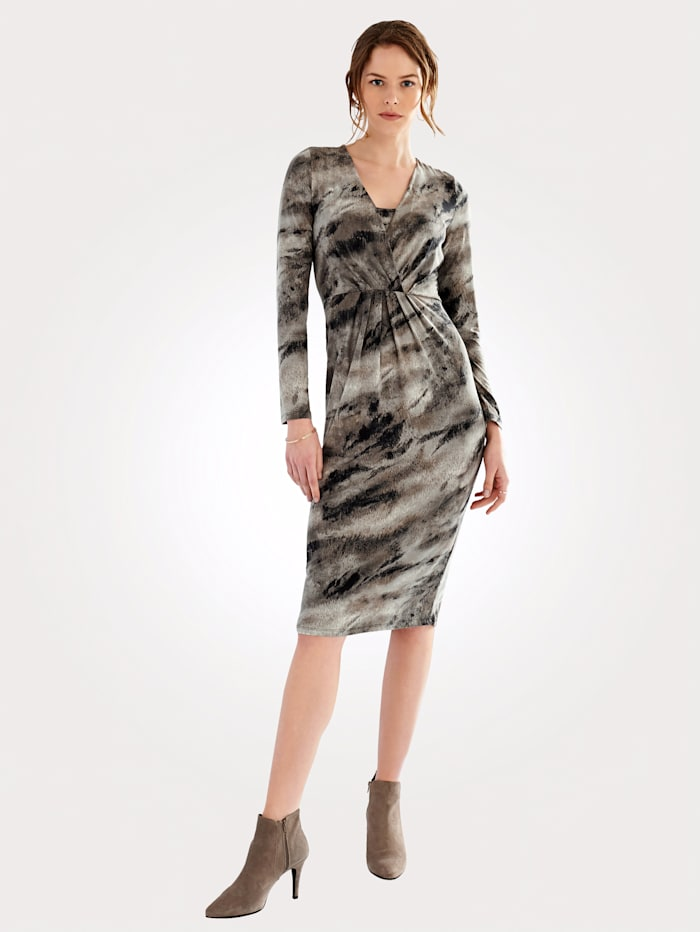 Artigiano Jersey dress in an abstract all-over print design, Taupe