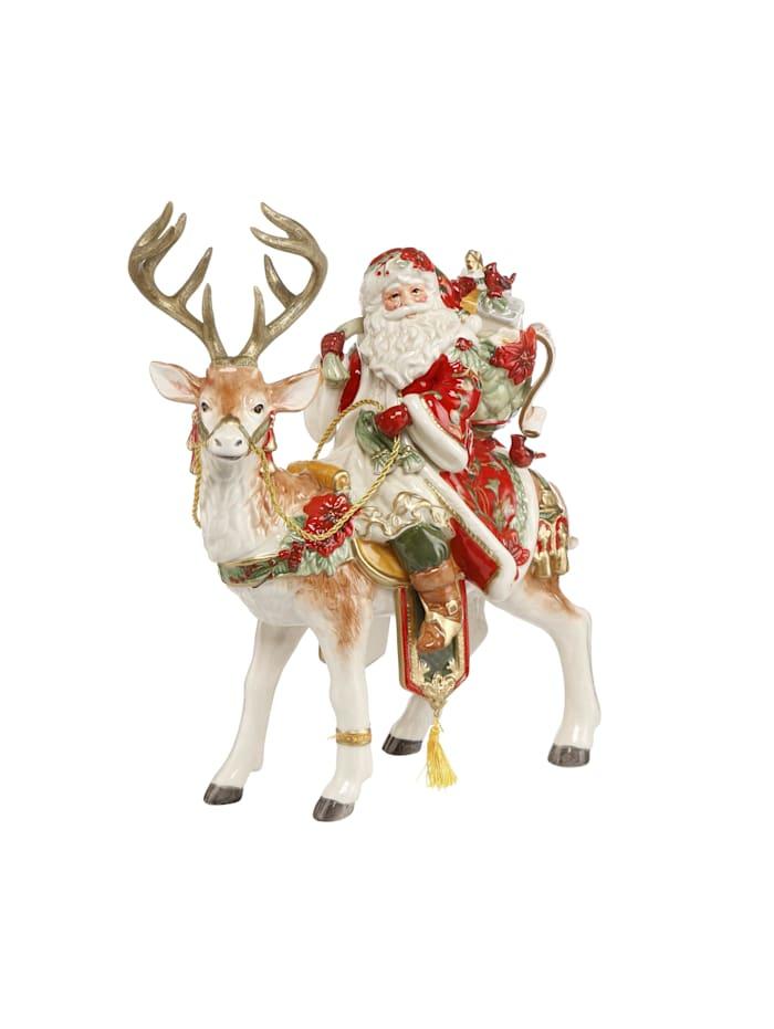 Fitz&Floyd Fitz&Floyd Figur Santa auf Hirsch, Bunt