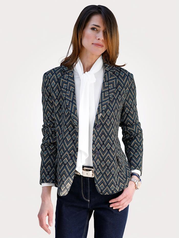 MONA Blazer made from a soft jacquard knit, Blue/Beige/Navy