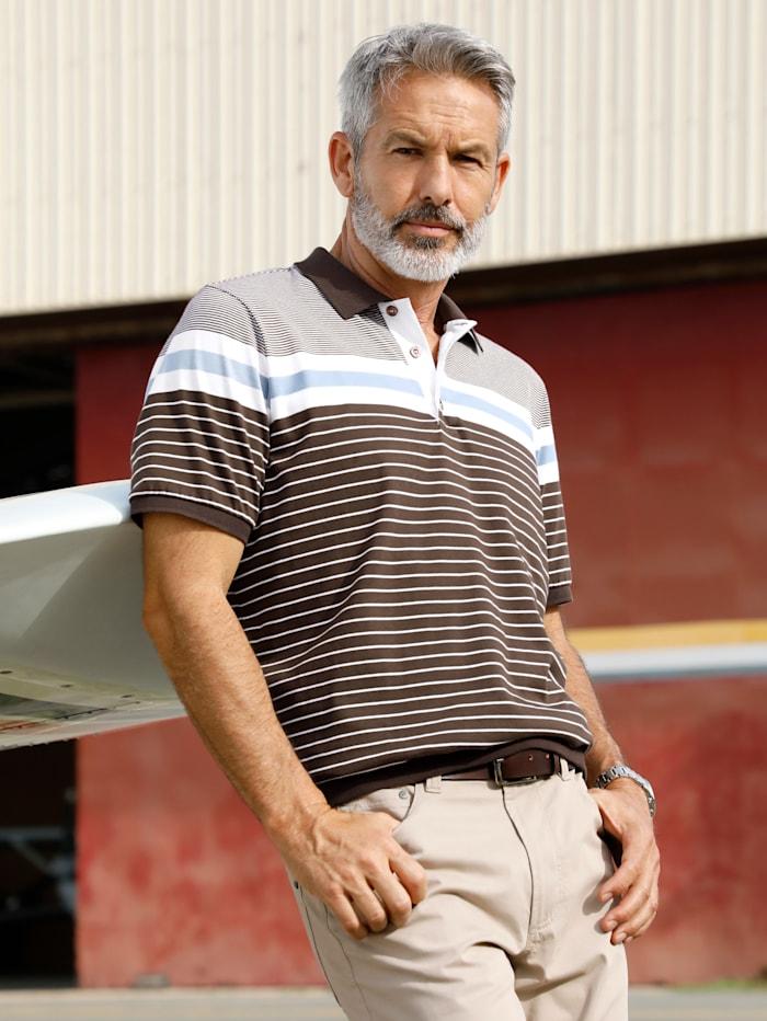 BABISTA Poloshirt met ingebreid patroon, Bruin/Wit