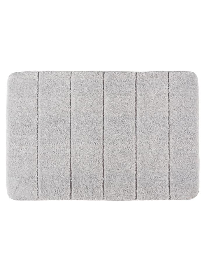 Wenko Badteppich Steps Light Grey, 60 x 90 cm, Mikrofaser, Polyester/Mikrofaser: Grau - Hellgrau