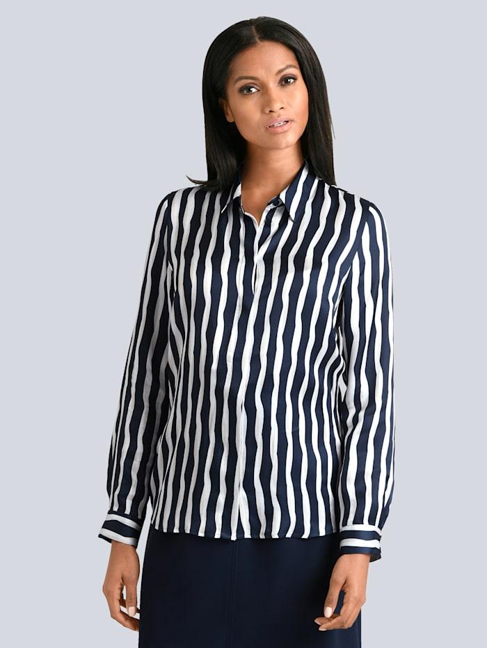 Alba Moda Bluse med stripemønster, Marine/Offwhite