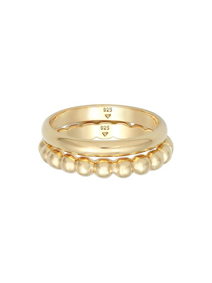 Ring Bandring 2Er Set Basic Kugel Design 925 Silber