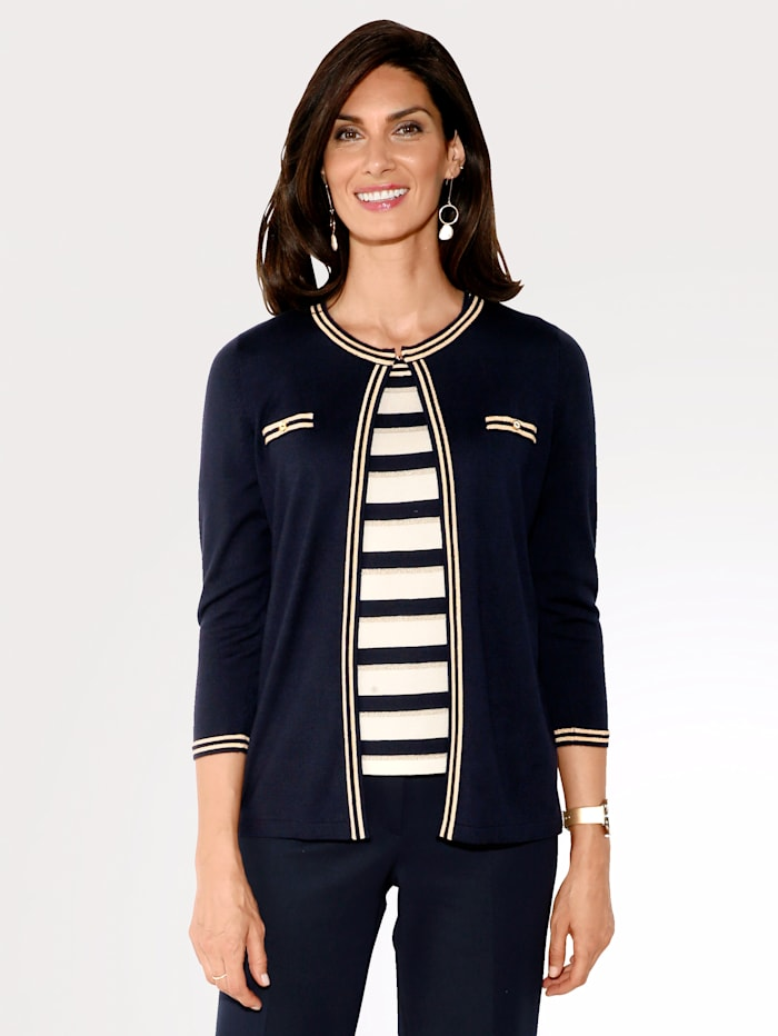 Cardigan with contrast stripes