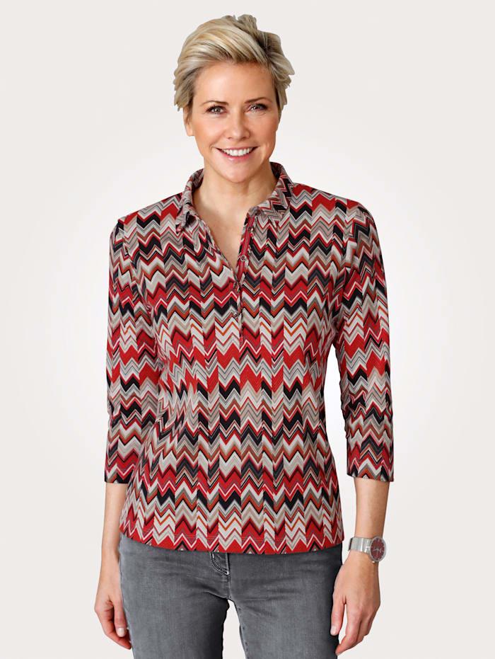 Rabe Poloshirt aus reiner Baumwolle, Rot/Grau/Weiß