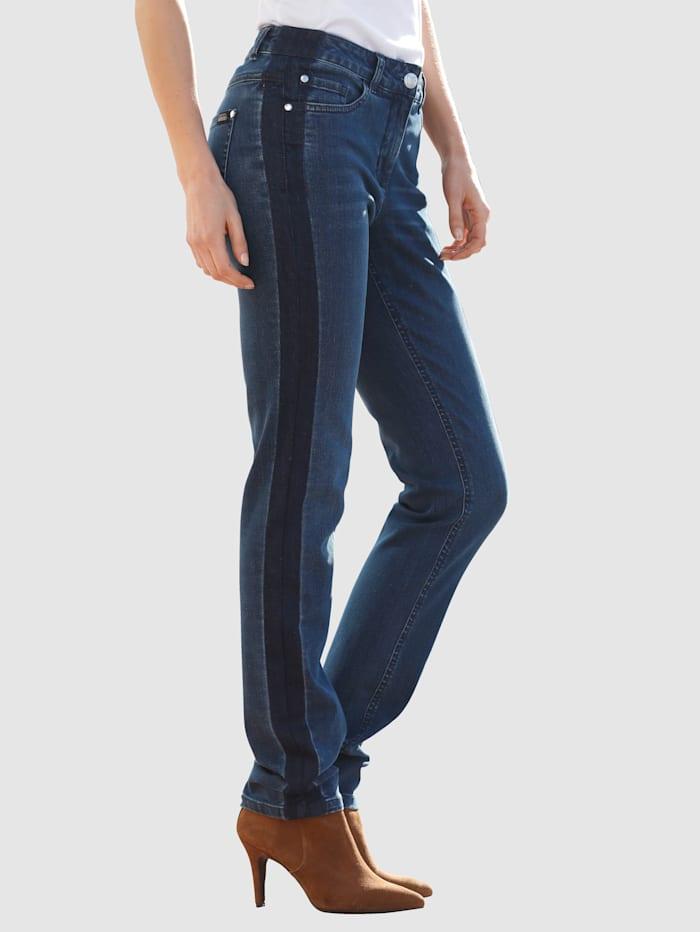 Laura Kent Jeans Laura Slim met denimstrepen, Dark blue