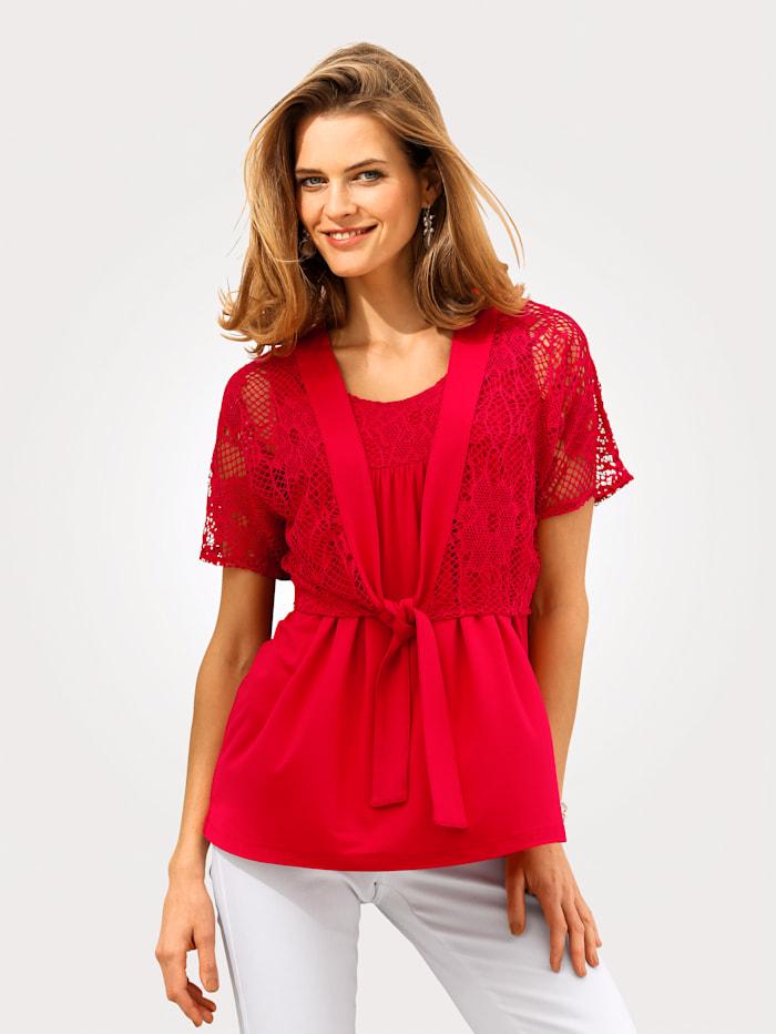 MONA Shirt-Set mit floraler Spitze, Koralle