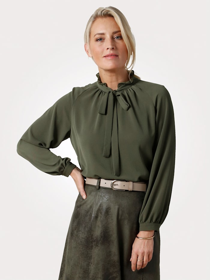 MONA Blouse with a tie neck and frills, Olive