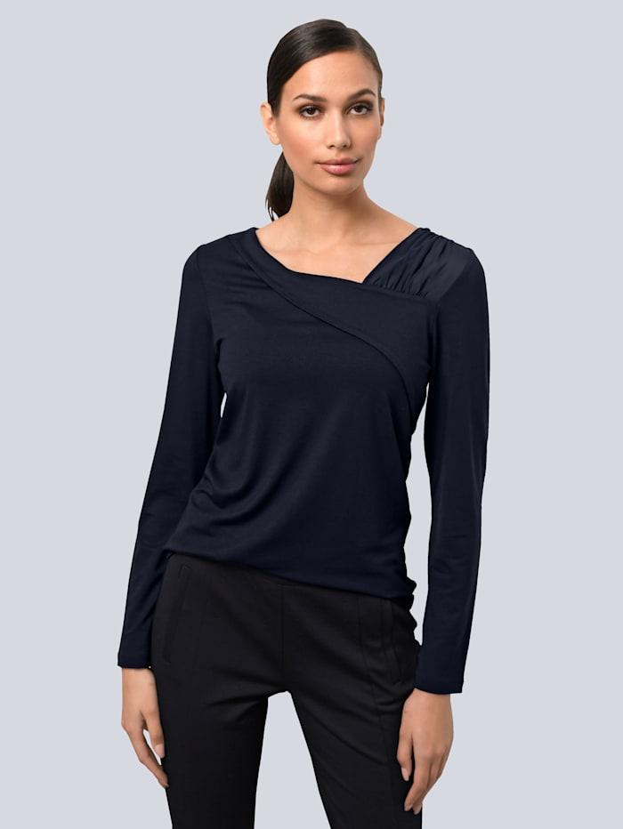 Alba Moda Shirt mit modischen Mesh-Cut-Outs, Marineblau