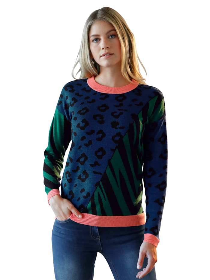 AMY VERMONT Pullover mit Animal-Print, Schwarz/Grün/Blau/Koralle