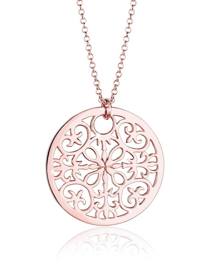 Elli Halskette Münze Boho Ornament 925 Sterling Silber, Rosegold
