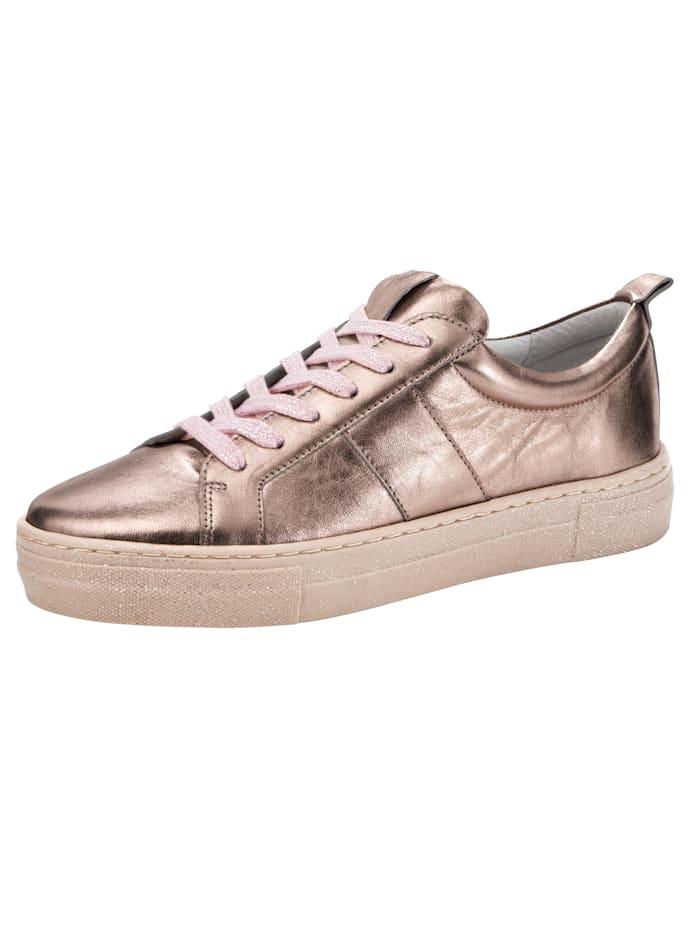 Filipe Shoes Tennis à plateau en cuir perlato brillant, Rose/Coloris or