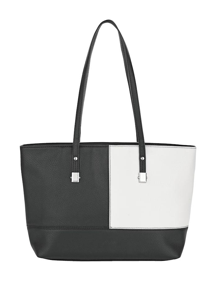 Sina Jo Sac cabas en élégante association de coloris, Noir/blanc