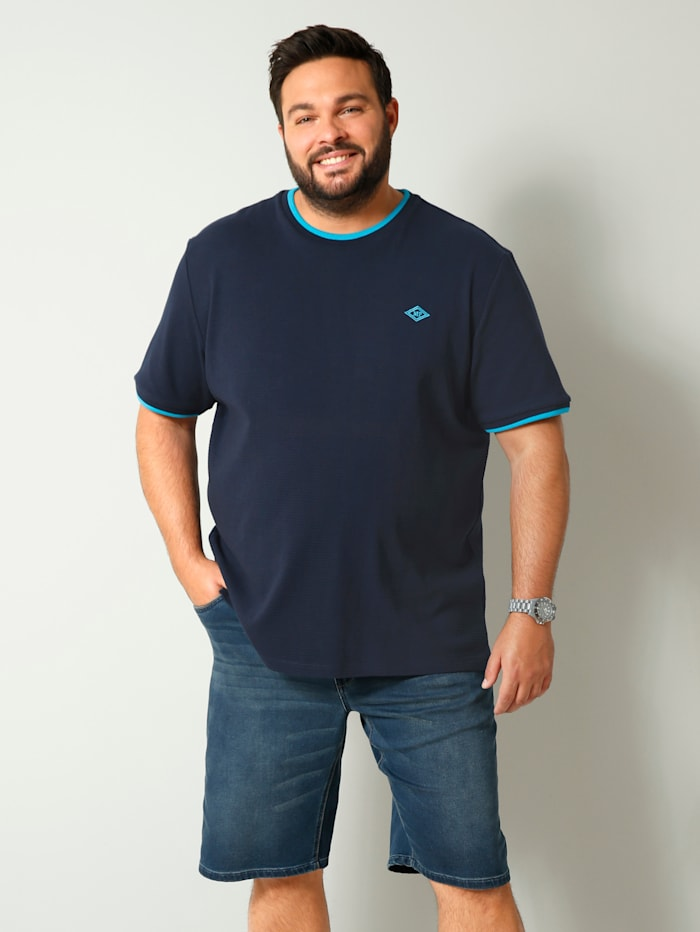 Men Plus T-Shirt mit modischer Struktur, Marineblau/Petrol