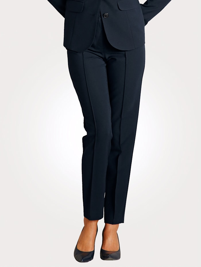 MONA Trousers with leg-lengthening creases, Navy