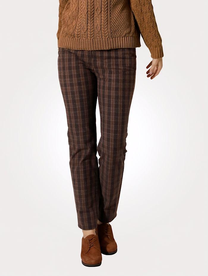 MONA Pantalon à motif de carreaux intemporel, Marron/Marron clair
