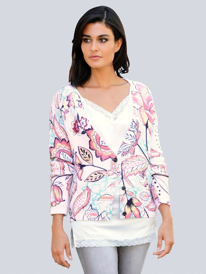 Alba Moda Vest met exclusief dessin, Offwhite/Apricot