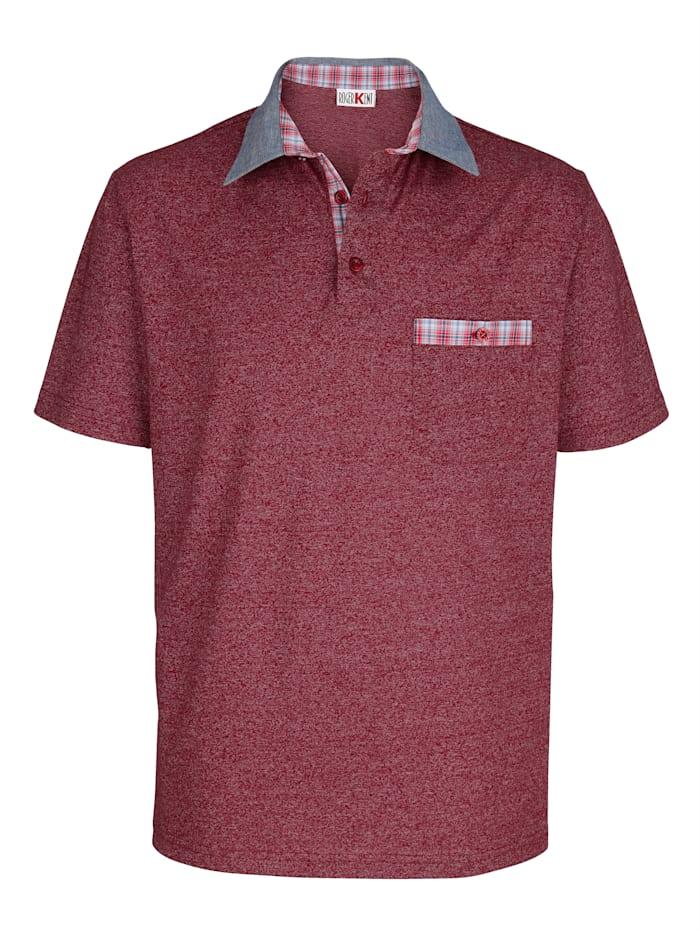 Roger Kent Poloshirt in Melange-Optik, Rot