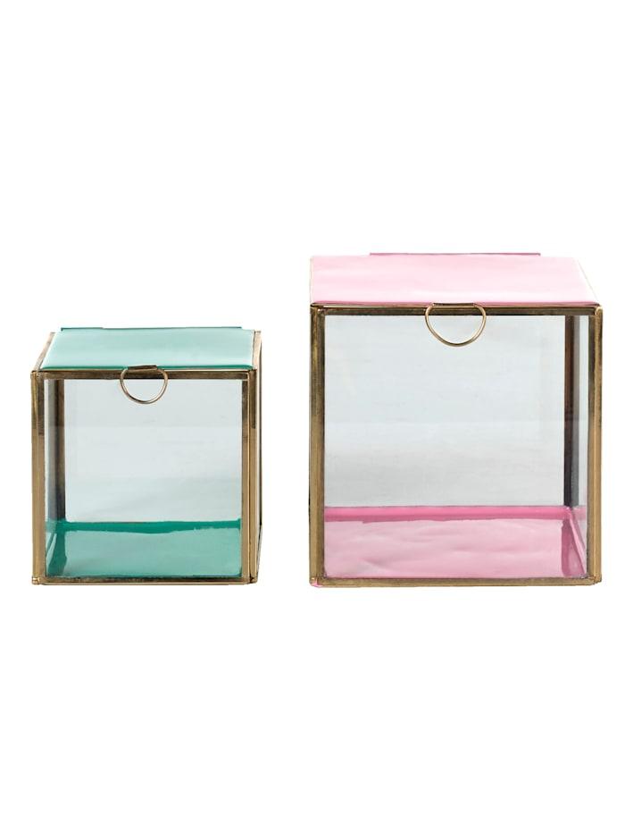 IMPRESSIONEN living Schmuckbox-Set, 2-tlg., Rosé/Mintgrün/Gelbgoldfarben