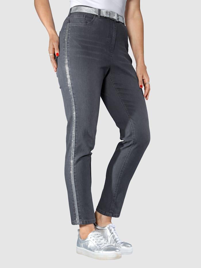 MIAMODA Jeans mit glitzerndem Paillettenband seitlich, Grey