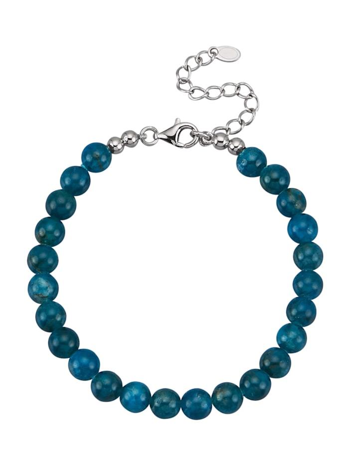 Diemer Farbstein Apatit-Armband in 925 Silber, Blau